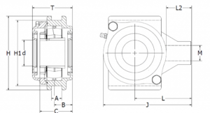 Extreme Bearing EXT Conveyor Tension Stainless Steel Washdown Bearing Housing sketch