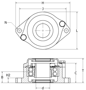 Extreme Bearing EXR Compact 2-hole stainless steel Bearing sketch